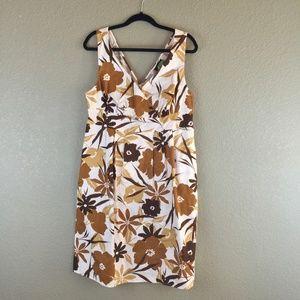 Lane Bryant brown tan floral cotton sun dress